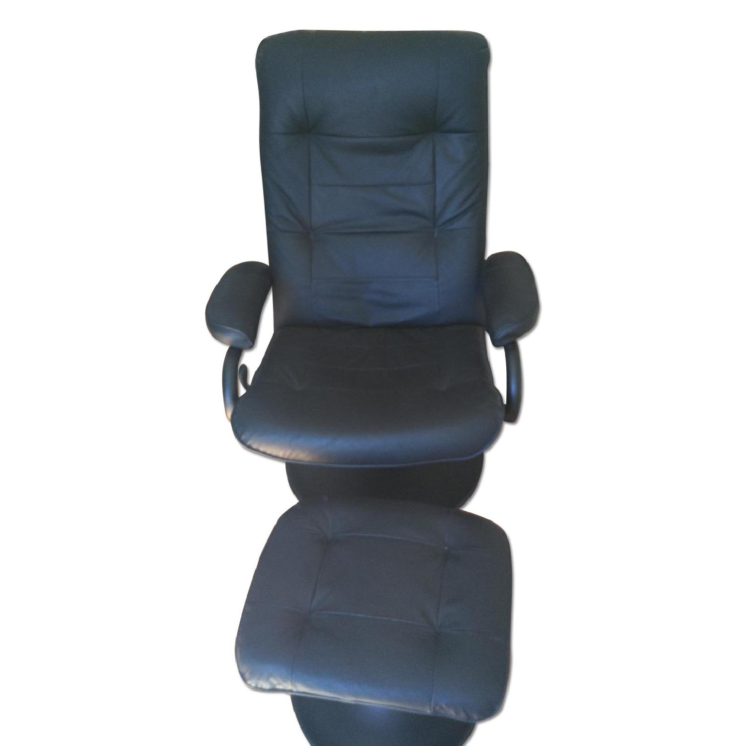 Black Leather Recliner & Footstool - image-0