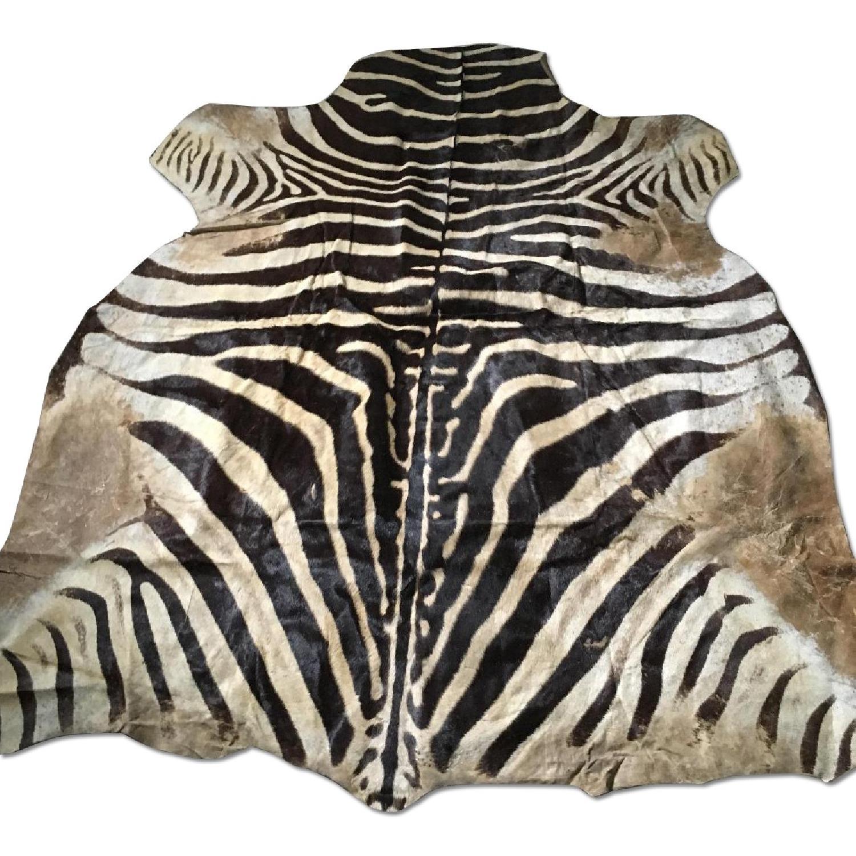 Zebra Hide Trophy Rug from Africa - image-0