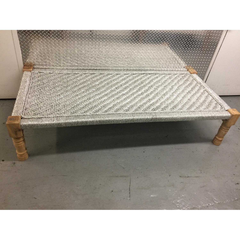 Metallic Silver Weaved Bench - image-1