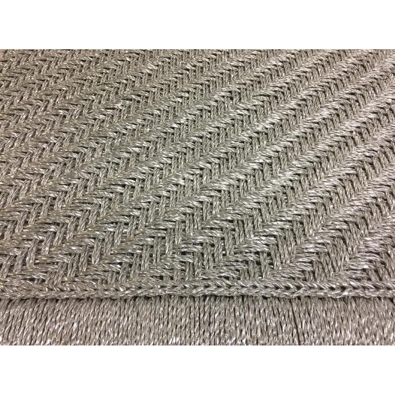 Metallic Silver Weaved Bench - image-2