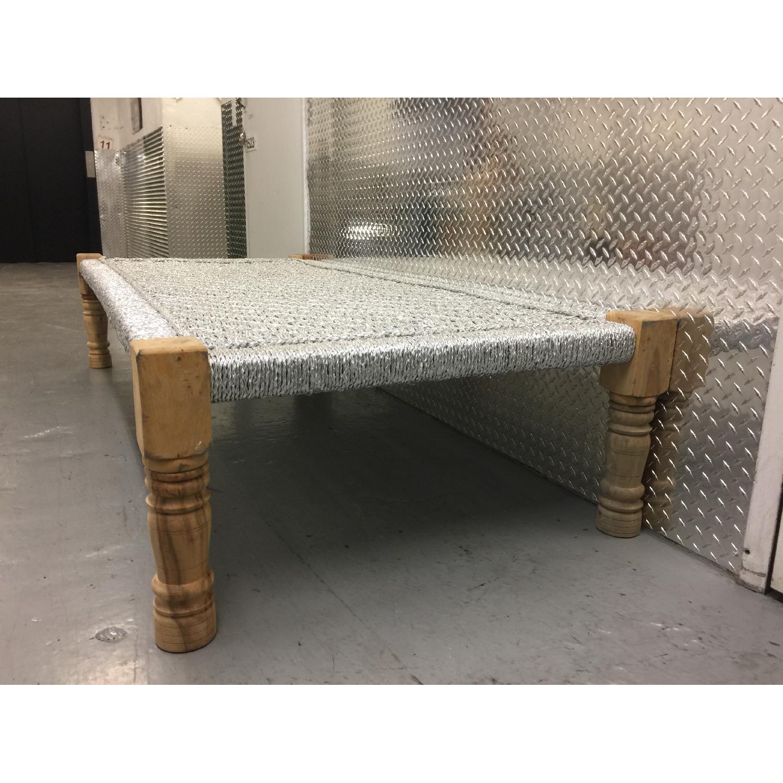 Metallic Silver Weaved Bench - image-3