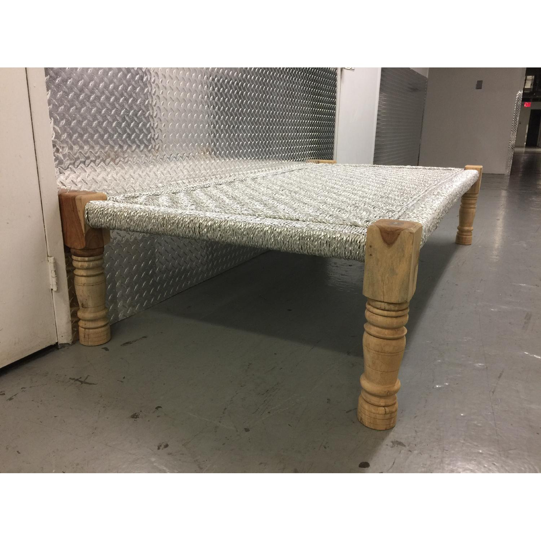 Metallic Silver Weaved Bench - image-4