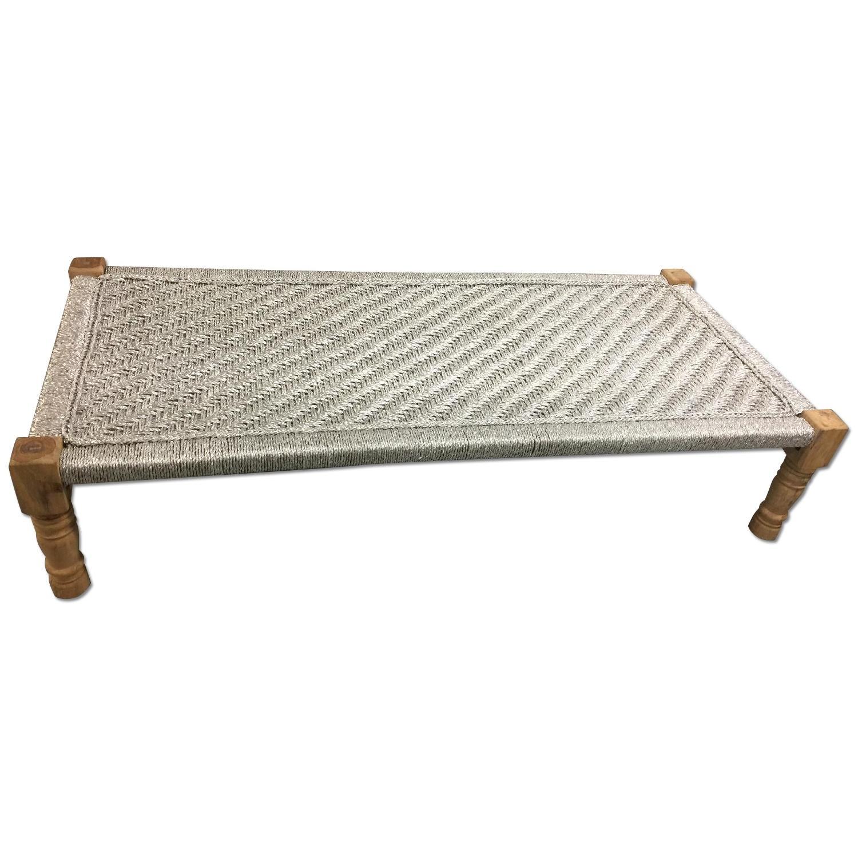 Metallic Silver Weaved Bench - image-0