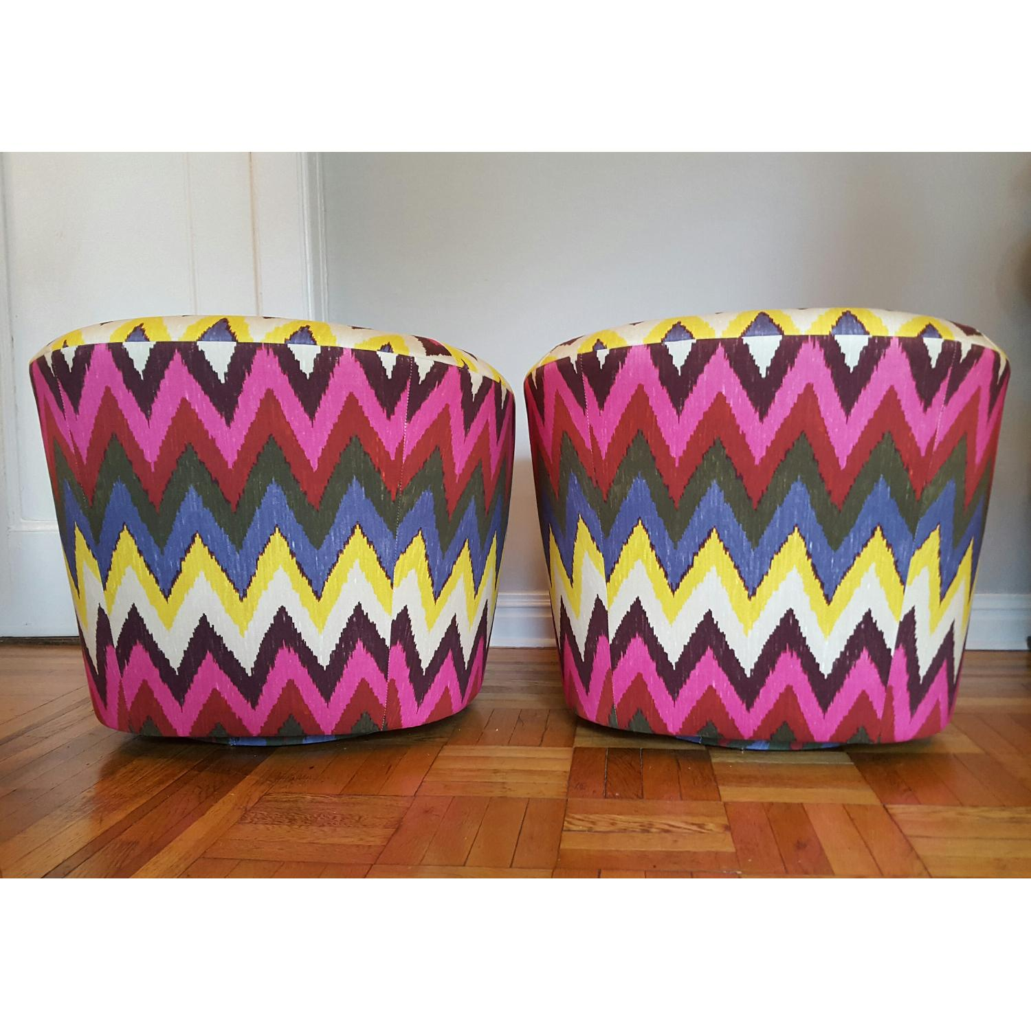 Vintage Reupholstered Ikat Swivel Chairs - image-1