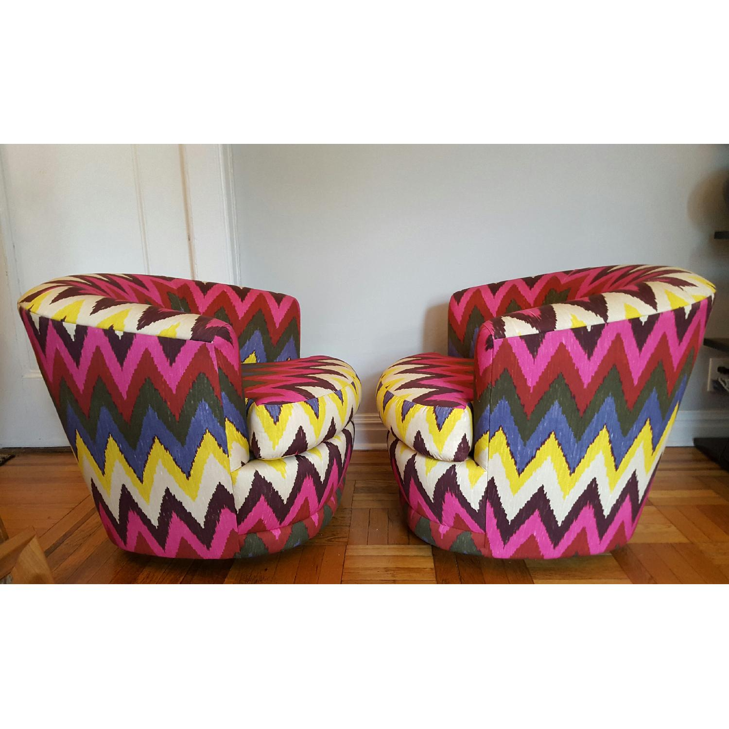 Vintage Reupholstered Ikat Swivel Chairs - image-2