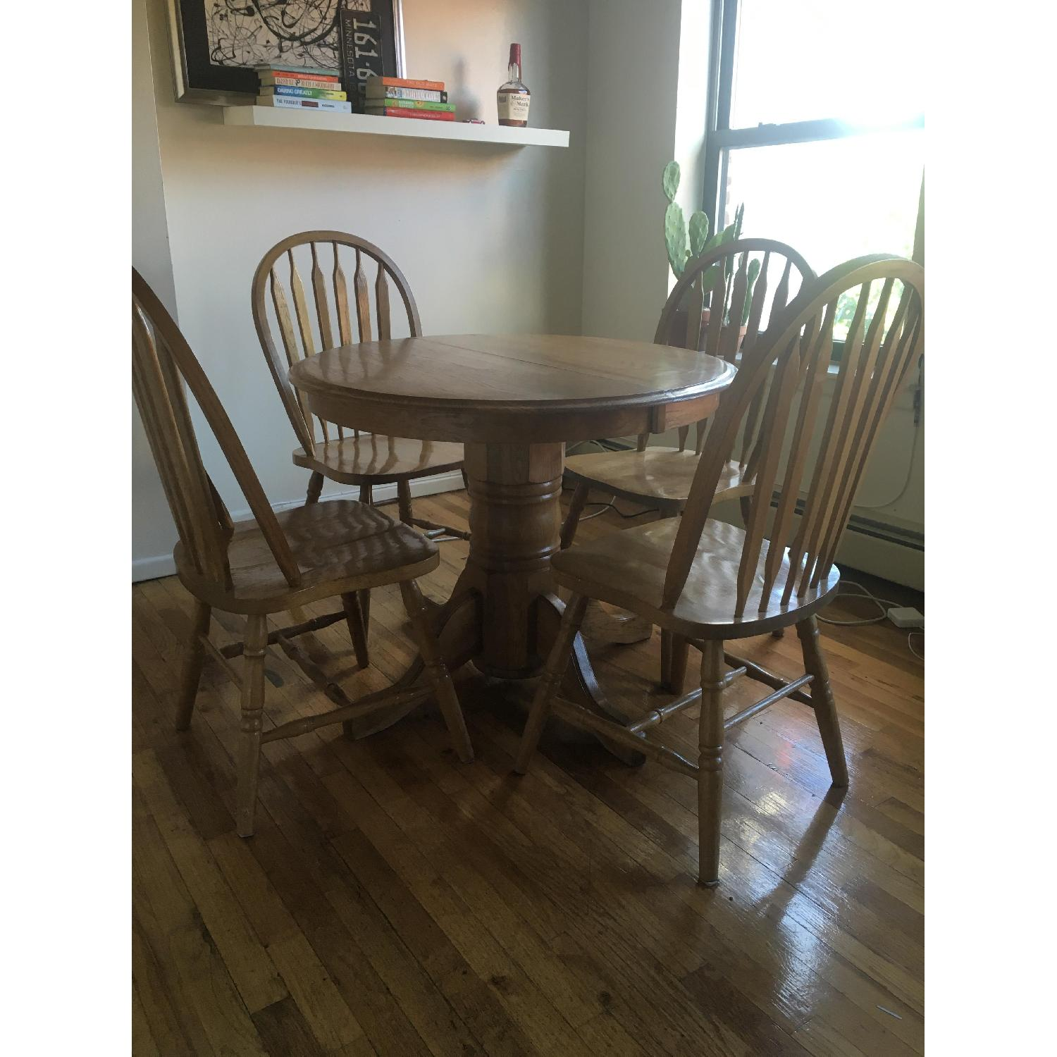 Oak Expandable Dining Table w/ 4 Chairs - image-1