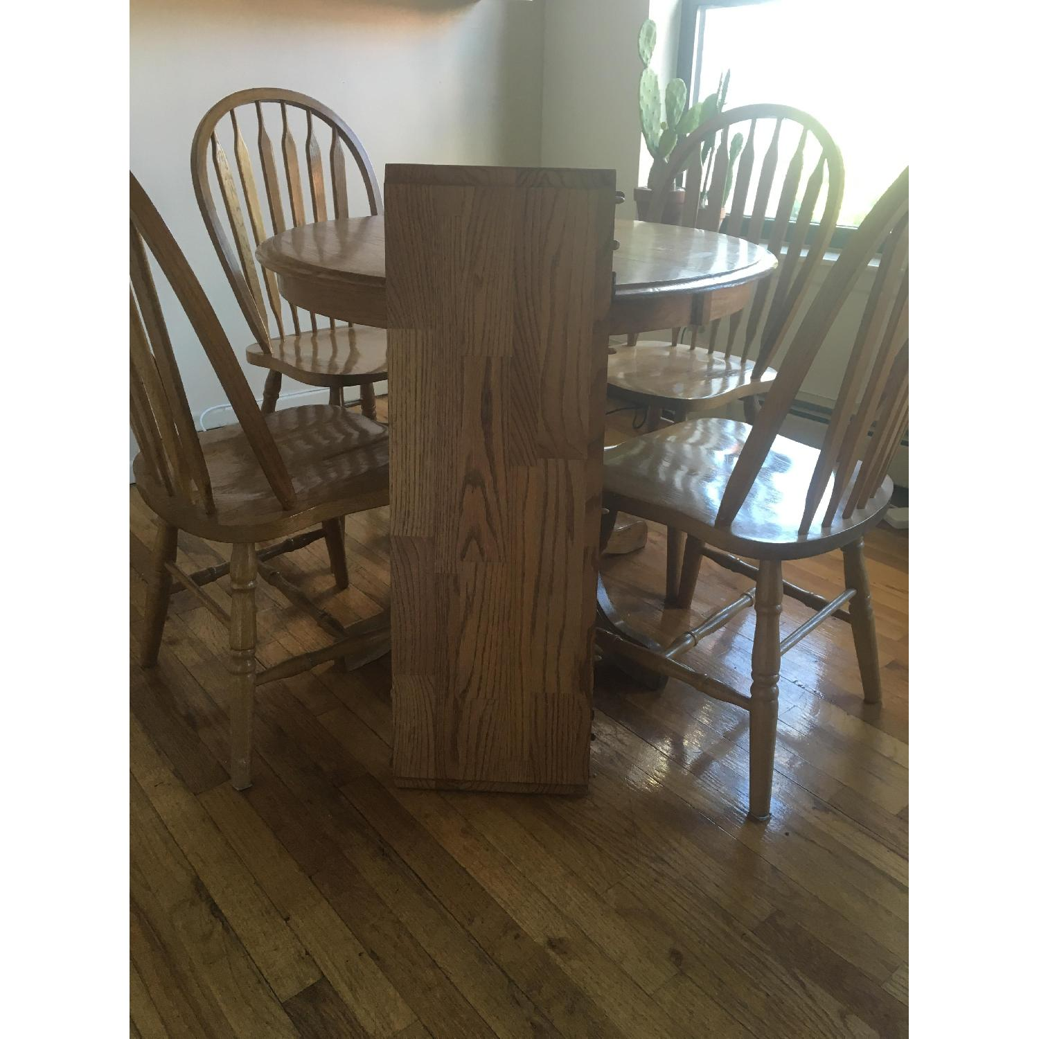 Oak Expandable Dining Table w/ 4 Chairs - image-2