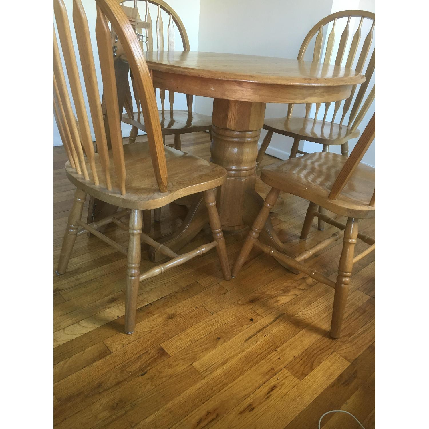 Oak Expandable Dining Table w/ 4 Chairs - image-3