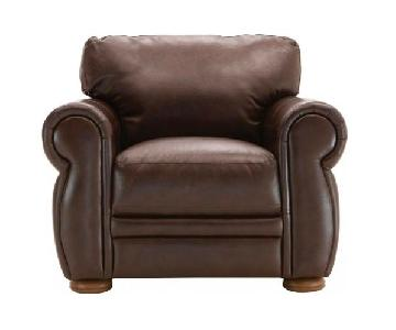 Raymour & Flanigan Marsala Leather Chair in Chocolate