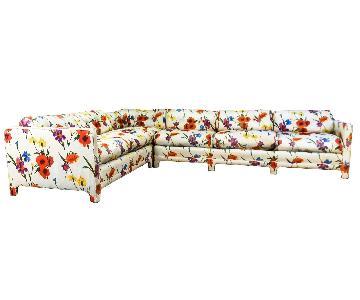 W J Sloane Mid-Century Poppy, Iris & Daffodil Sectional Sofa