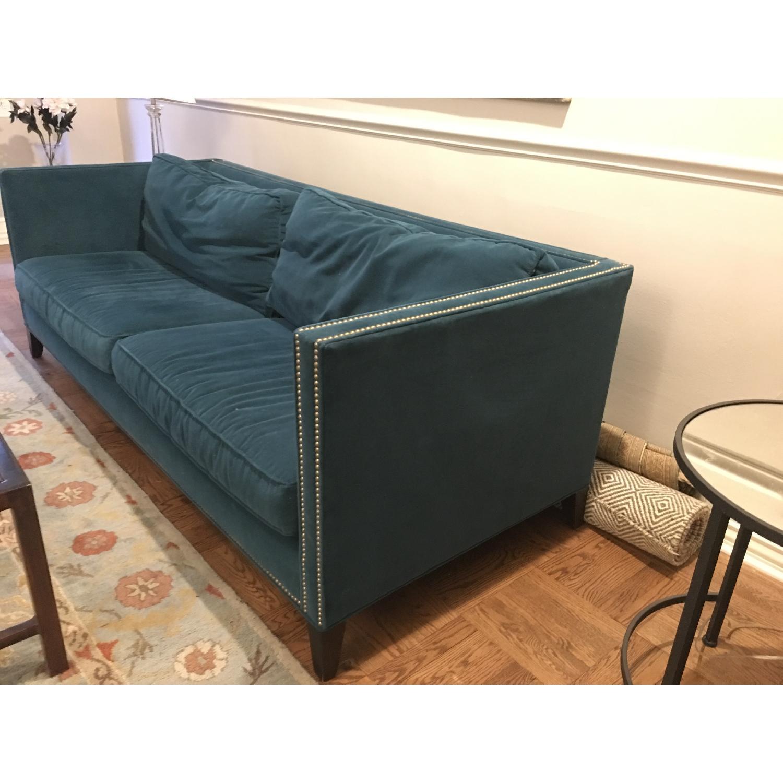 Mitchell Gold + Bob Williams Liam Teal Blue Velvet Sofa-3
