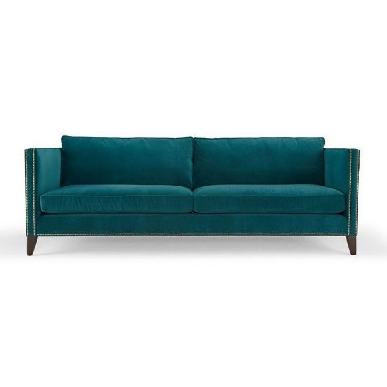 Mitchell Gold + Bob Williams Liam Teal Blue Velvet Sofa