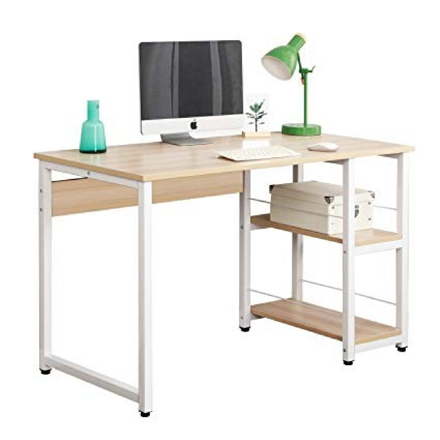DLandHome Wooden Desk w/ 2 Shelves
