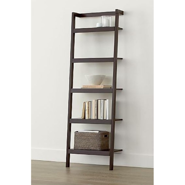 Crate & Barrel Sawyer Mocha Leaning Bookcases-0