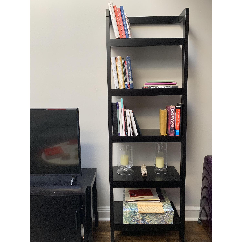 Crate & Barrel Sawyer Mocha Leaning Bookcases-1