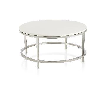Crate & Barrel Era Limestone Round Coffee Table