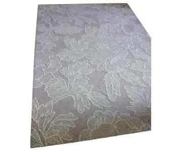 C Company Looped All-Wool Pile Floral Relief Rug