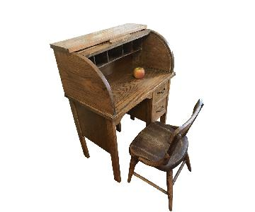 Antique Wooden Child-Size Roll Top Desk & Chair