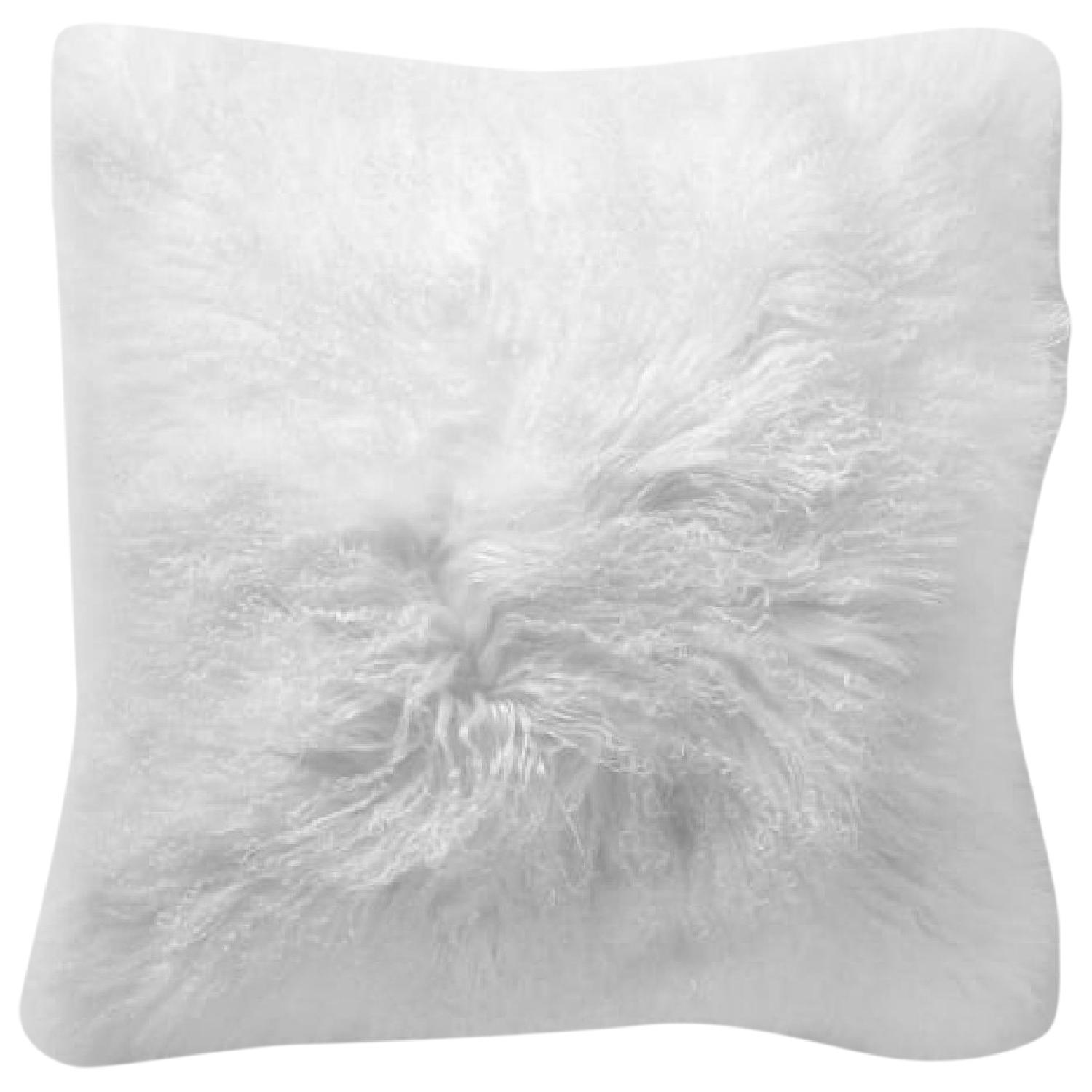 West Elm Mongolian Lamb Pillow Cover in Stone White