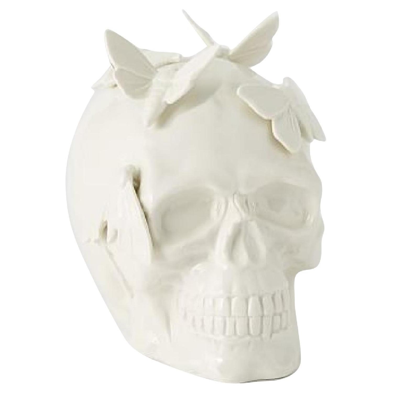West Elm Ceramic Skull & Moths Object in White