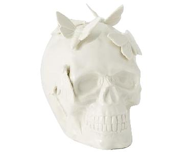 West Elm Ceramic Skull & Moths Object in White