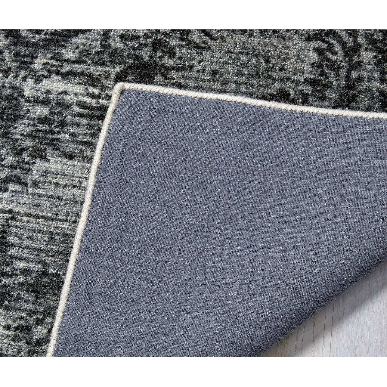 West Elm Distressed Arabesque Wool Rug in Steel-0
