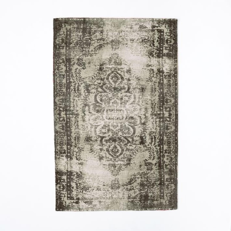 West Elm Distressed Arabesque Wool Rug in Steel