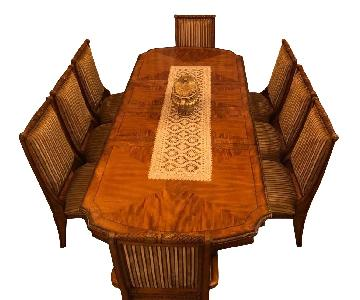 Raymour & Flanigan Wood Dining Table w/ 8 Chairs
