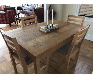 Pottery Barn Dining Table w/ 6 Upholstered Side Chairs