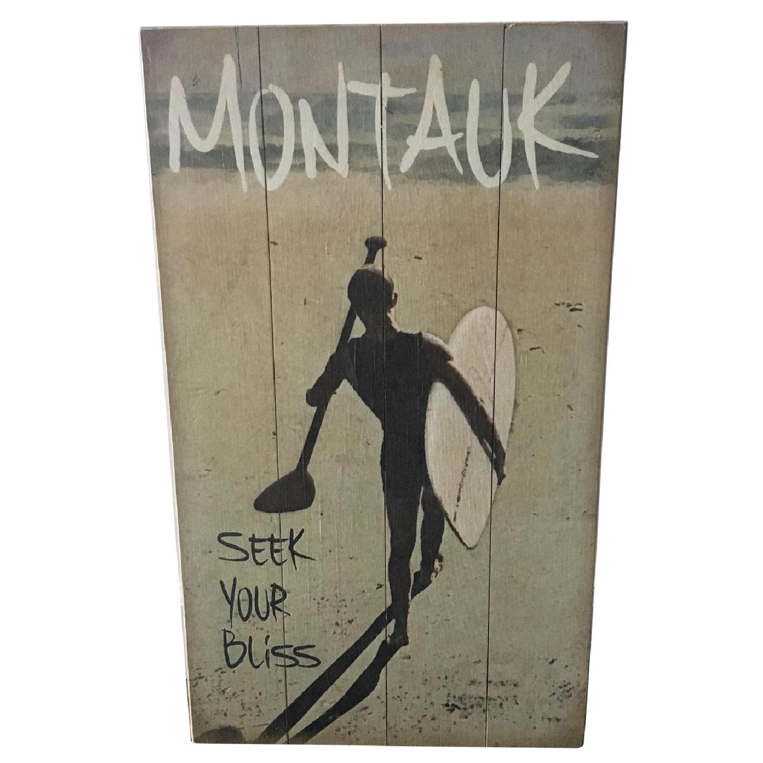 Montauk Surfer Art on Wood