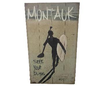 Montauk Surfer Art on Wood