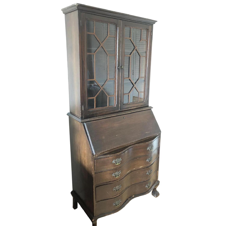 Vintage 1940's Mahogany Serpentine Clawfoot Secretary Desk