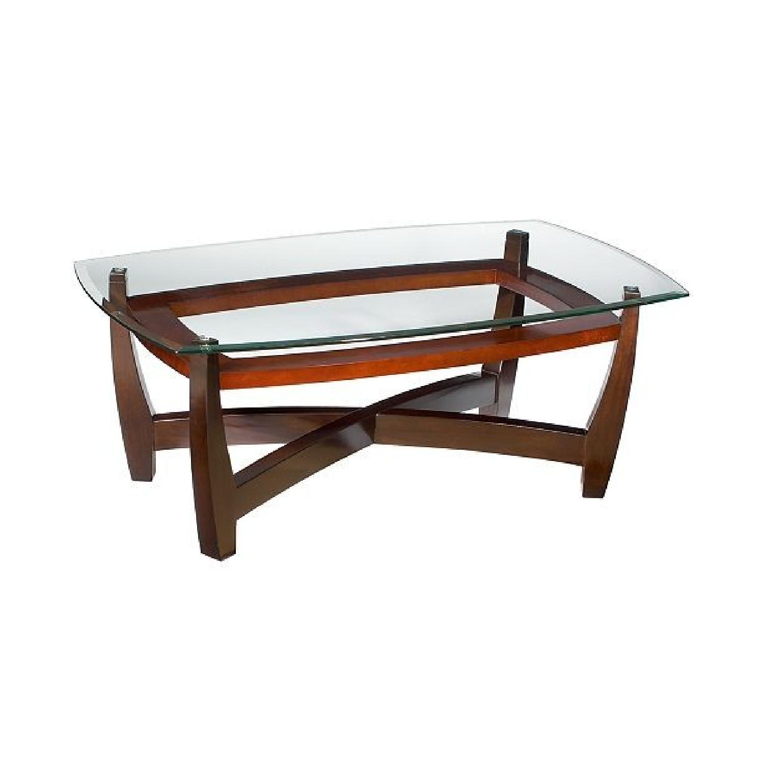 Macy S Square Wood Glass Coffee Table 2 Round End Tables Aptdeco
