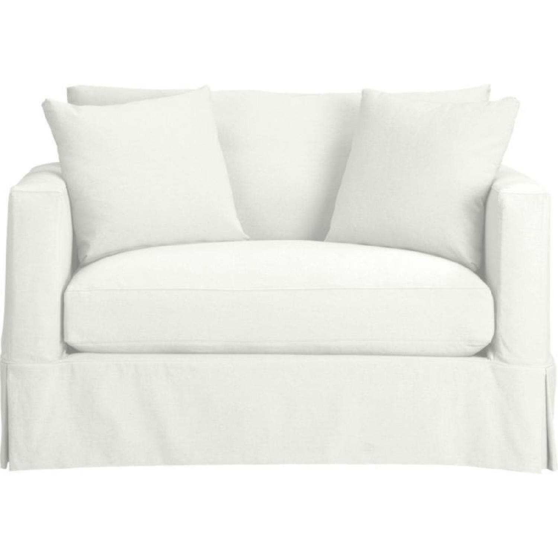 Crate & Barrel Willow Modern Slipcovered Twin Sleeper Sofa