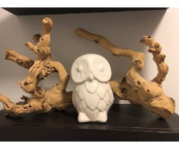 West Elm Natural Grapewood Branch Decor & Ceramic Owl
