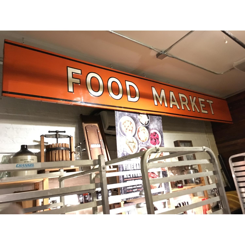 Large Metal 1940s Food Market Sign