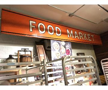Large Metal 1940s Food Market Sign