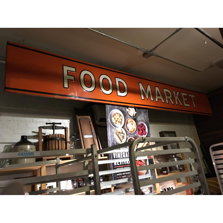 Large Metal 1940s Food Market Sign-0