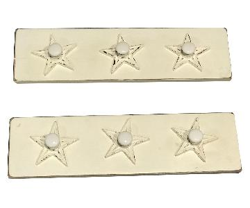 Solid Distressed Wood Peg Rack w/ Reclaimed Hooks