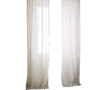 West Elm Sheer Belgian Flax Linen Curtains in Ivory