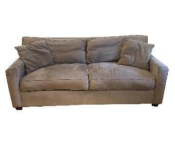 Macy's Taupe Fabric Sofa