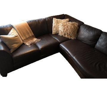 Custom Brown Leather 3-Piece Sectional Sofa