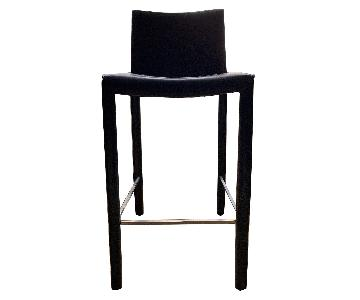 Black Leather Counter-Height Stools w Brushed Steel Footrest
