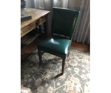 Antique Green Leather Office Chair