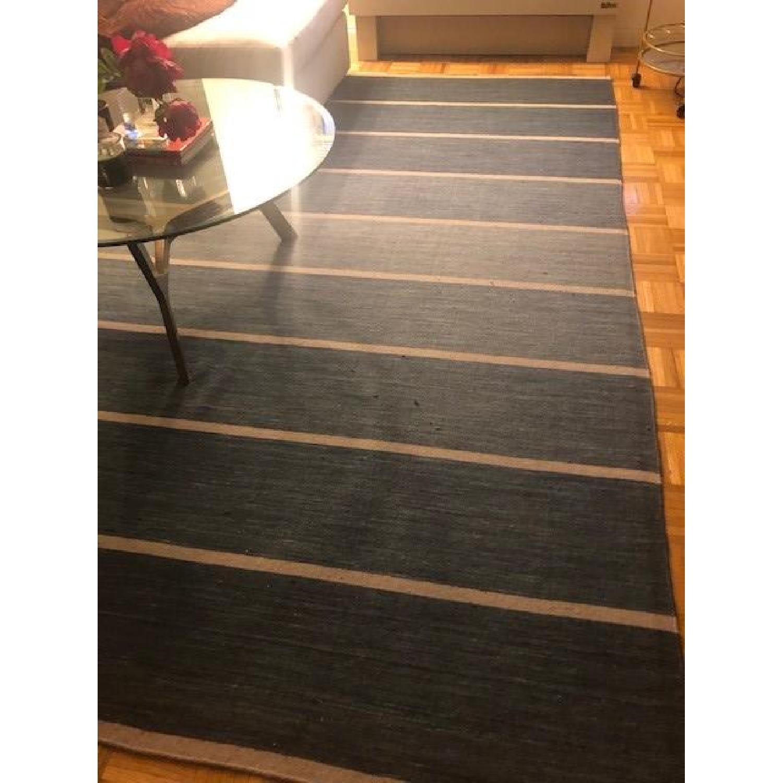 Crate & Barrel Blue Wool-Blend Striped Dhurrie Rug-0