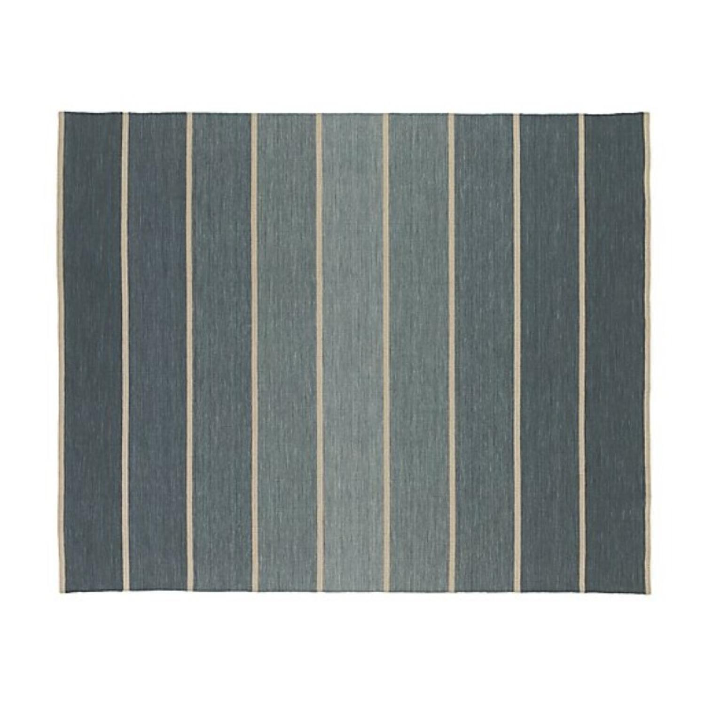 Crate & Barrel Blue Wool-Blend Striped Dhurrie Rug