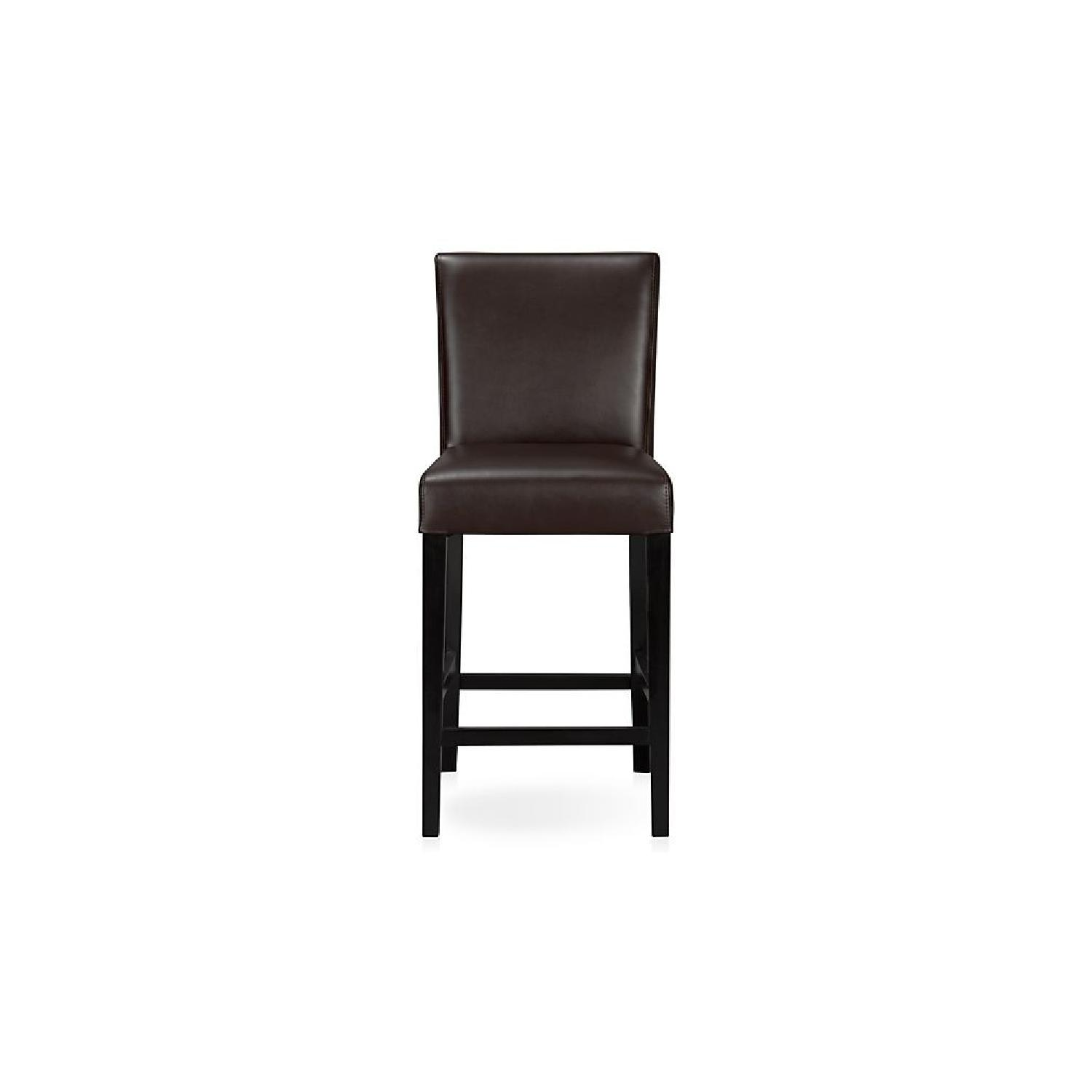 Crate & Barrel Lowe Chocolate Leather Counter Stools