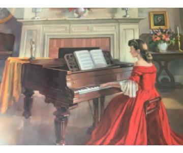 Ditlef Vintage Music/Piano/Harp Prints Framed