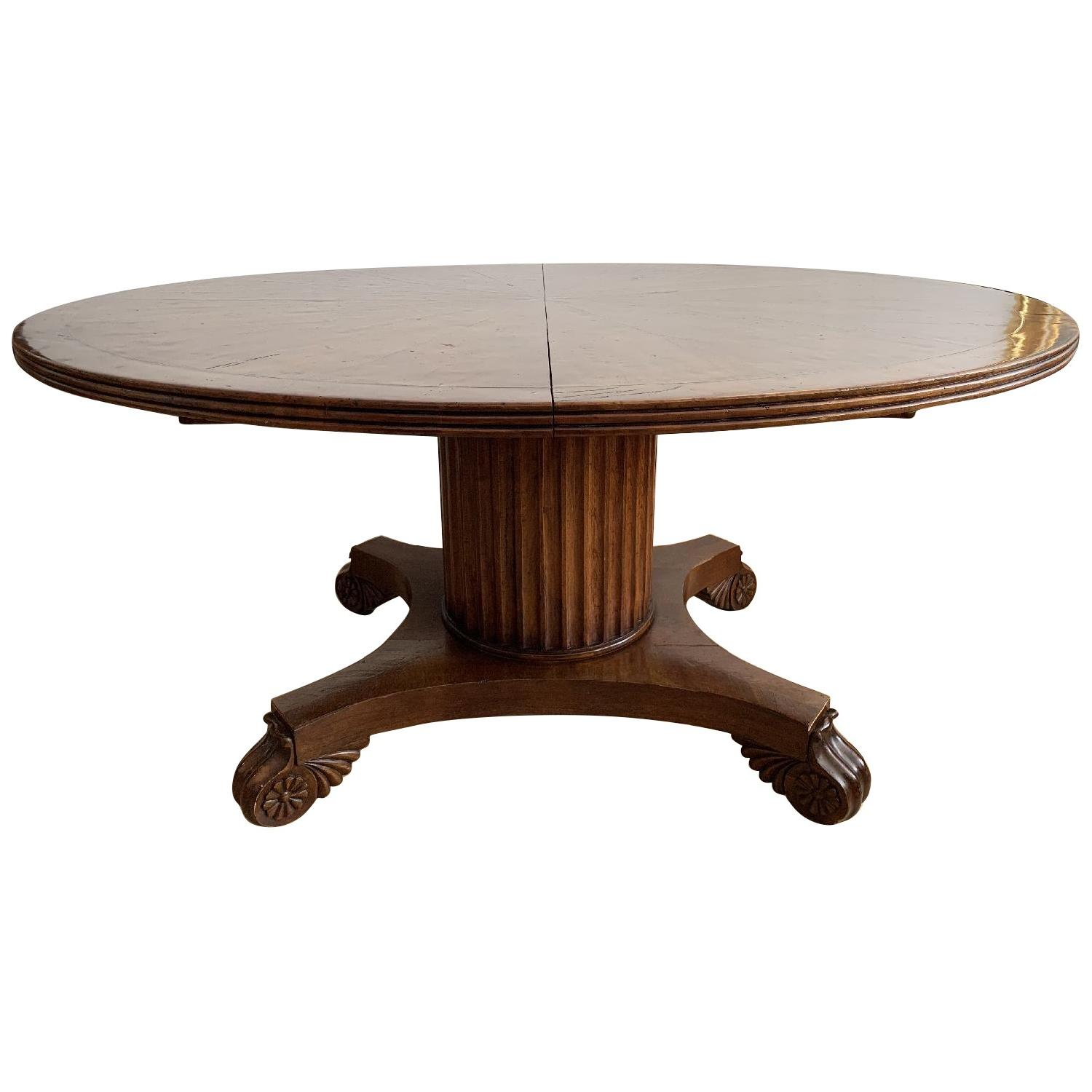 Round Cherry Dining Table w/ 2 Extensions