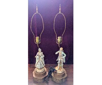 Antique Figurine Lamps w/ Metal Base